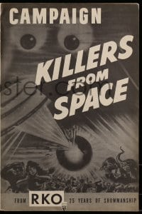 9f031 KILLERS FROM SPACE pressbook 1954 bulb-eyed men invade Earth from flying saucers, cool art!