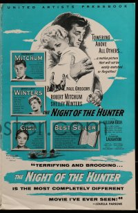 9f037 NIGHT OF THE HUNTER pressbook 1956 Robert Mitchum & Shelley Winters, Laughton classic noir!