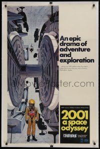 9h001 2001: A SPACE ODYSSEY linen Cinerama centrifuge style C 1sh 1968 great McCall art, rare!