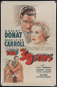9h002 39 STEPS linen 1sh R1938 Alfred Hitchcock, stone litho of Robert Donat & Madeleine Carroll!