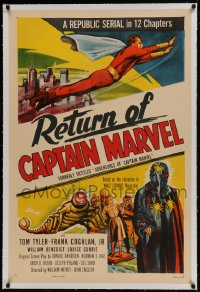 9h003 ADVENTURES OF CAPTAIN MARVEL linen 1sh R1953 art of Tom Tyler in costume & villain, serial!