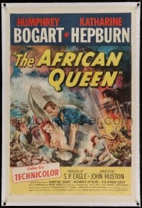 9h004 AFRICAN QUEEN linen 1sh 1952 colorful montage artwork of Humphrey Bogart & Katharine Hepburn!