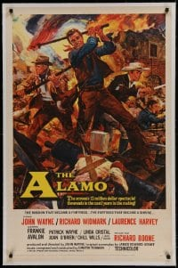 9h005 ALAMO linen 1sh 1960 Brown art of John Wayne & Richard Widmark in Texas War of Independence!