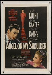 9h006 ANGEL ON MY SHOULDER linen 1sh 1946 artwork of Paul Muni, Claude Rains, pretty Anne Baxter!
