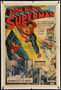 9h007 ATOM MAN VS SUPERMAN linen chapter 15 1sh 1950 Kirk Alyn in costume in BOTH art & inset photo!