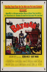 9h008 BATMAN linen 1sh 1966 Adam West & Burt Ward w/ villains Meriwether, Romero, Meredith & Gorshin