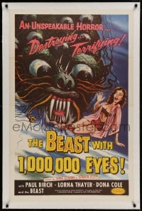 9h009 BEAST WITH 1,000,000 EYES linen 1sh 1955 art of monster attacking sexy girl by Albert Kallis!