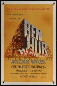 9h011 BEN-HUR linen 1sh 1960 Charlton Heston, William Wyler classic epic, cool chariot & title art!