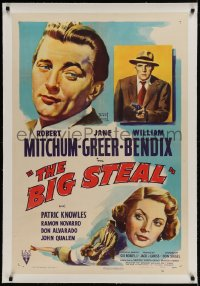 9h012 BIG STEAL linen 1sh 1949 art of Robert Mitchum, Jane Greer & William Bendix with gun!