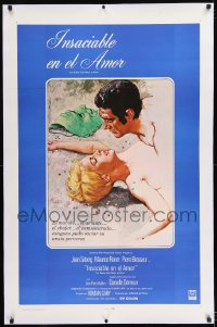 9h014 BIRDS IN PERU linen Spanish/US 1sh 1968 Valcarenghi art of sexy Jean Seberg & Maurice Ronet!