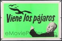 9h013 BIRDS linen Spanish/US teaser 1sh 1963 horizontal image of Hitchcock saying they're coming!