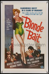 9h016 BLONDE BAIT linen 1sh 1956 full-length sexy smoking bad girl Beverly Michaels is a silken trap!