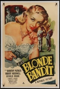 9h017 BLONDE BANDIT linen 1sh 1949 great c/u art of sexy bad girl Dorothy Patrick with smoking gun!