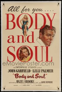 9h018 BODY & SOUL linen int'l 1sh 1947 art of boxer John Garfield, Lilli Palmer & sexy Hazel Brooks!