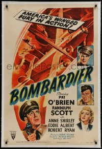 9h019 BOMBARDIER linen 1sh R1950 Pat O'Brien, Randolph Scott, America's winged fury in action, rare!