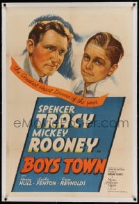 9h022 BOYS TOWN linen style C 1sh 1938 Spencer Tracy as Father Flannagan, Mickey Rooney, ultra rare!