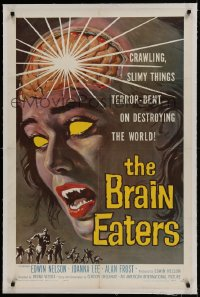 9h023 BRAIN EATERS linen 1sh 1958 AIP, classic sci-fi horror art of girl's brain exploding!