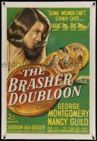 9h024 BRASHER DOUBLOON linen 1sh 1947 some women can't stand cats, with her it's men, Chandler noir!