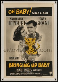 9h025 BRINGING UP BABY linen 1sh R1955 Katharine Hepburn, Cary Grant, great different leopard art!