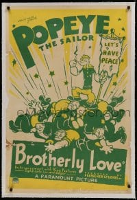 9h026 BROTHERLY LOVE linen 1sh 1936 art of Popeye the Sailor on pile of men he beat up, ultra rare!