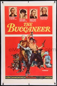 9h027 BUCCANEER linen 1sh R1965 art of Yul Brynner & Charlton Heston, directed by Anthony Quinn!