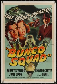9h028 BUNCO SQUAD linen 1sh 1950 unmasking the phoney spiritualist cult ring, great film noir art!