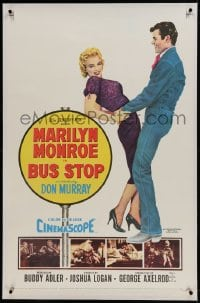 9h029 BUS STOP linen 1sh 1956 full-length art of cowboy Don Murray holding sexy Marilyn Monroe!