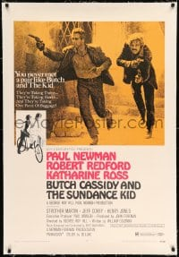 9h030 BUTCH CASSIDY & THE SUNDANCE KID linen style B 1sh 1969 Paul Newman, Robert Redford, Ross!