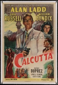 9h031 CALCUTTA linen 1sh 1946 great art of Alan Ladd pointing gun & sexy Gail Russell in India!