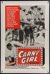 9h032 CARNY GIRL linen 1sh 1970 behind the scenes with the wild girls of the midway skin shows!