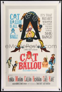 9h033 CAT BALLOU linen int'l 1sh 1965 classic sexy cowgirl Jane Fonda, Lee Marvin, great artwork!