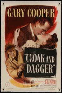 9h036 CLOAK & DAGGER linen 1sh 1946 romantic close up of Gary Cooper & Lilli Palmer, Fritz Lang