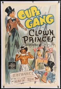 9h037 CLOWN PRINCES linen 1sh 1939 cool art of Spanky, Wild Man Buckwheat, Alfalfa & Siamese twins!
