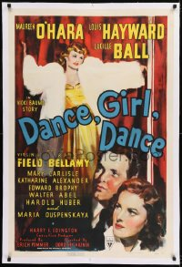 9h040 DANCE, GIRL, DANCE linen 1sh 1940 Lucille Ball & Maureen O'Hara, directed by Dorothy Arzner!