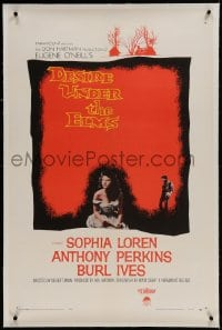 9h041 DESIRE UNDER THE ELMS linen 1sh 1958 sexy Sophia Loren, Anthony Perkins, Eugene O'Neill play!