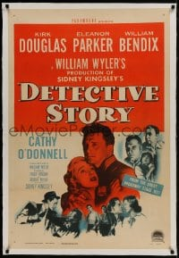 9h043 DETECTIVE STORY linen 1sh 1951 William Wyler, Kirk Douglas can't forgive Eleanor Parker!