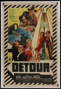 9h044 DETOUR linen 1sh 1945 cool images of Tom Neal & Ann Savage, classic Edgar Ulmer film noir!
