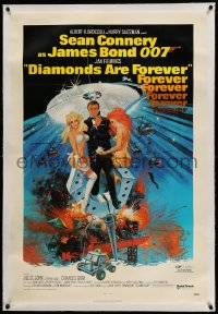 9h045 DIAMONDS ARE FOREVER linen 1sh 1971 art of Sean Connery as James Bond 007 by Robert McGinnis!