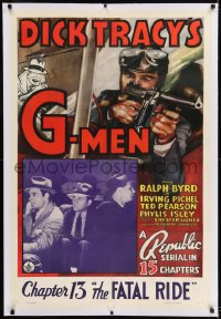 9h046 DICK TRACY'S G-MEN linen chapter 13 1sh 1939 Chester Gould art, Ralph Byrd, The Fatal Ride!