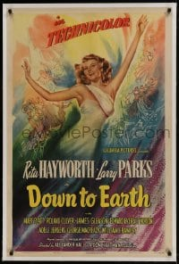 9h047 DOWN TO EARTH linen style A 1sh 1947 sensational different colorful art of sexy Rita Hayworth!