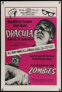 9h048 DRACULA PRINCE OF DARKNESS/PLAGUE OF THE ZOMBIES linen 1sh 1966 bloodthirsty vampire & undead!