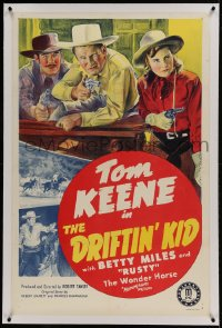 9h049 DRIFTIN' KID linen 1sh 1941 cool stone litho of Tom Keene & companions with their guns drawn!