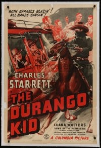 9h050 DURANGO KID linen 1sh 1940 cool art of Charles Starrett on horse chasing bad guys stagecoach!