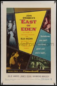 9h052 EAST OF EDEN linen 1sh 1955 first James Dean, John Steinbeck, directed by Elia Kazan!
