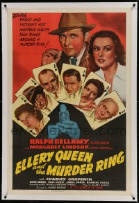 9h053 ELLERY QUEEN & THE MURDER RING linen 1sh 1941 star portraits on ace of spades playing cards!