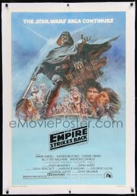 9h055 EMPIRE STRIKES BACK linen style B studio style 1sh 1980 George Lucas classic, art by Tom Jung!