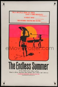 9h056 ENDLESS SUMMER linen 1sh 1967 iconic John Van Hamersveld art, Bruce Brown surfing classic!