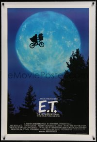 9h051 E.T. THE EXTRA TERRESTRIAL linen 27x40.5 1sh 1982 Spielberg classic, iconic bike over moon!