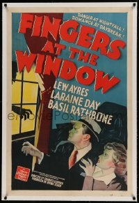 9h057 FINGERS AT THE WINDOW linen 1sh 1942 art of Lew Ayres & Laraine Day + Rathbone's shadow!