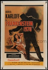 9h058 FRANKENSTEIN 1970 linen 1sh 1958 Boris Karloff, great artwork of monster attacking sexy girl!